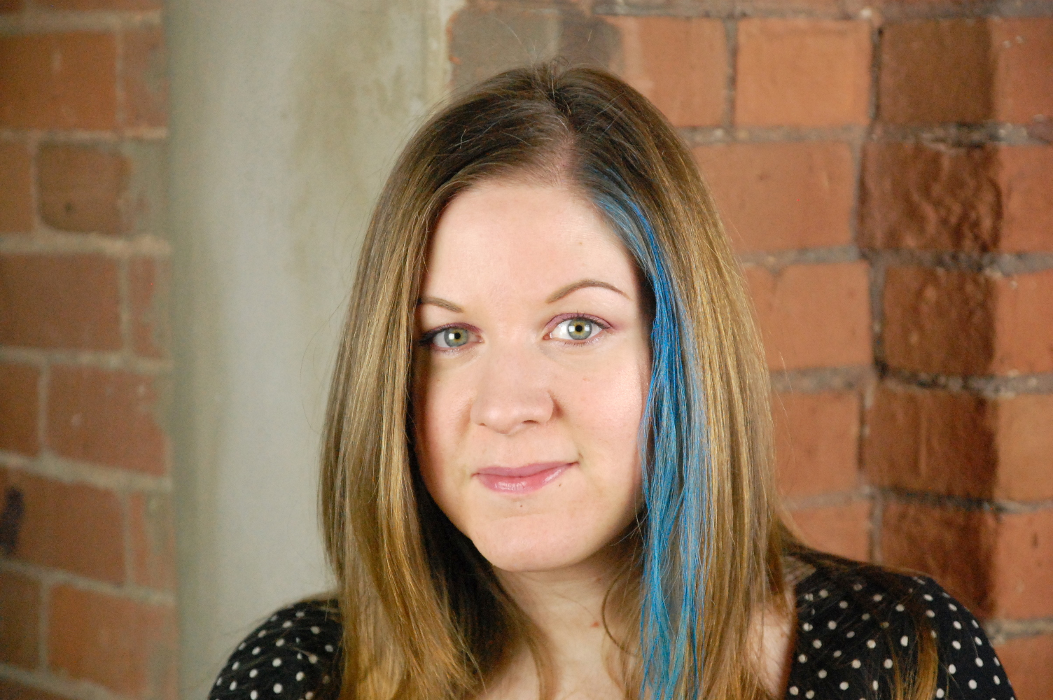 Blue streaks in light brown hair