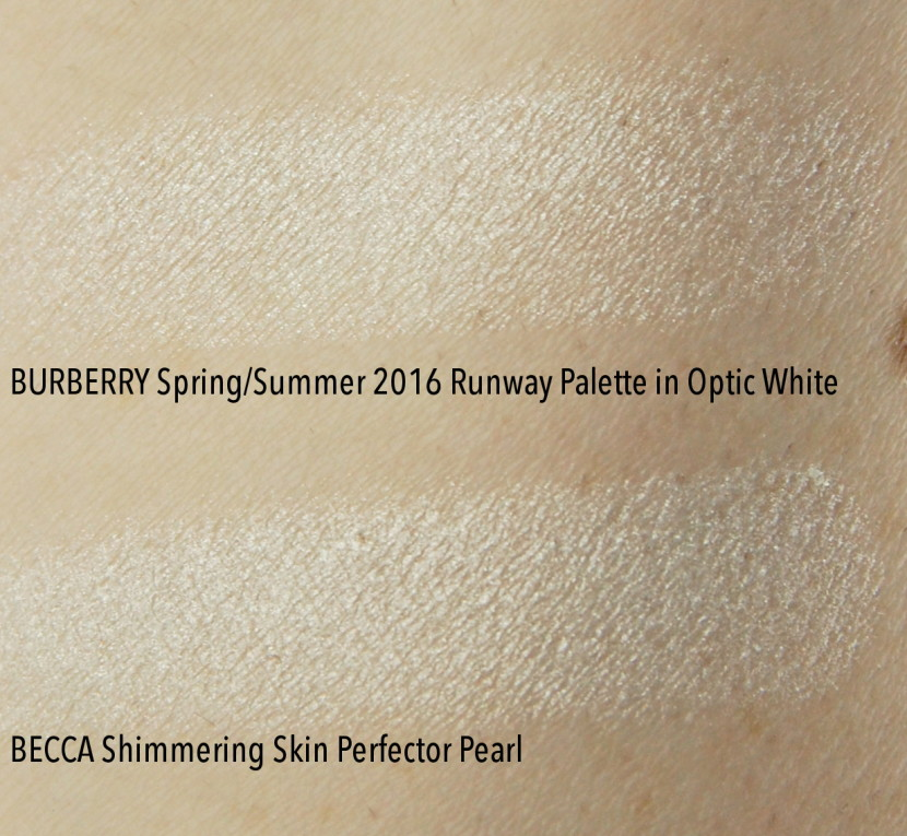 Burberry Spring Summer 2016 Runway palette Optic White highlighter swatch dupe comparison