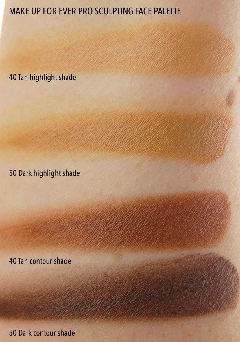 Make Up For Ever Pro Sculpting Face Palette 40 Tan 50 Dark highlight contour comparison swatches