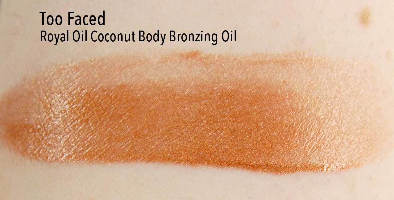 Too Faced Royal Oil Bronzing Oil swatch fair skin