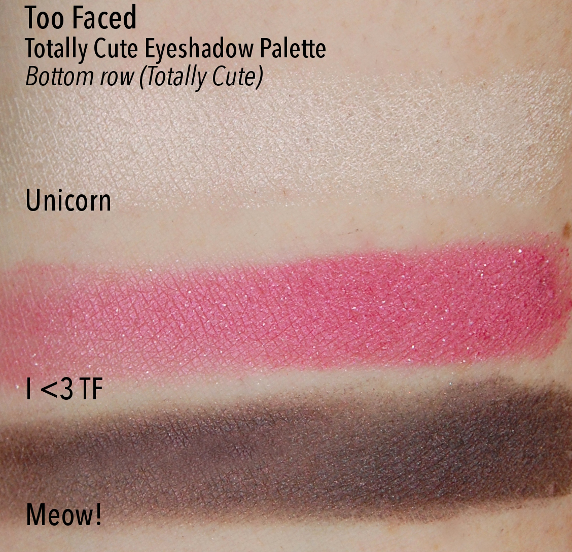 Too Faced Totally Cute Eyeshadow Palette Lucky Girl swatches