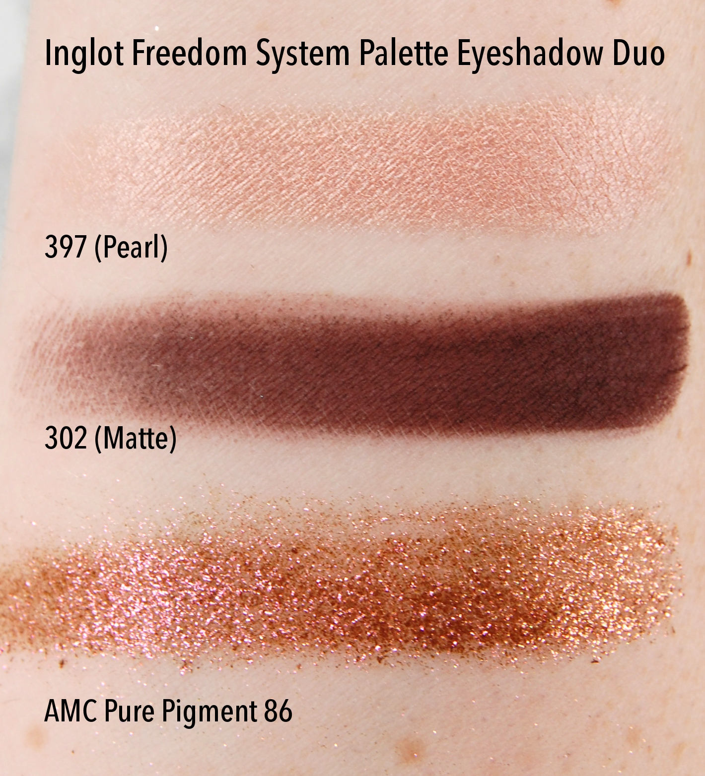 Inglot Freedom System Palette Duo Eyeshadow 397 302 AMC Pure Pigment 86 swatch