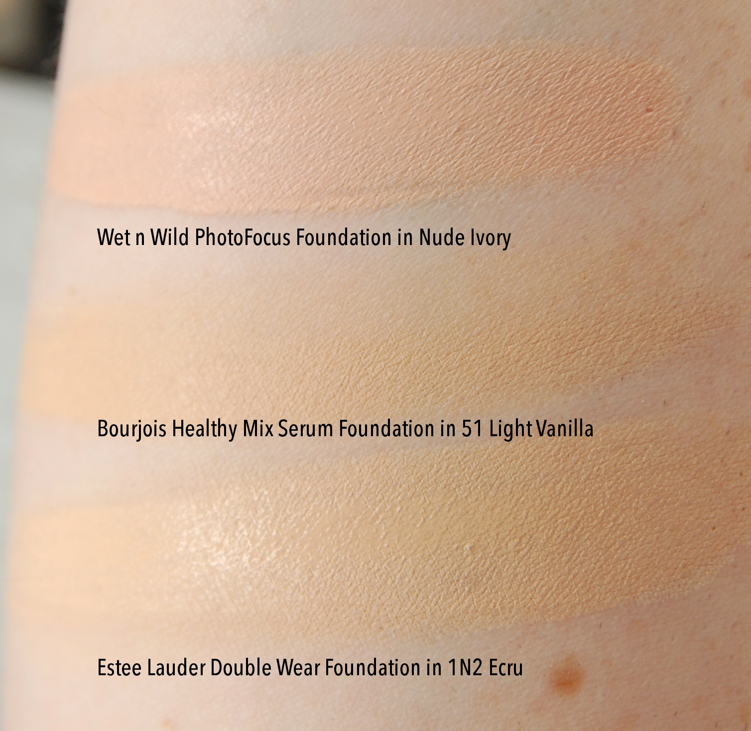 Wet n Wild Photofocus Foundation Nude Ivory swatch comparison Estee Lauder Doublewear Bourjois