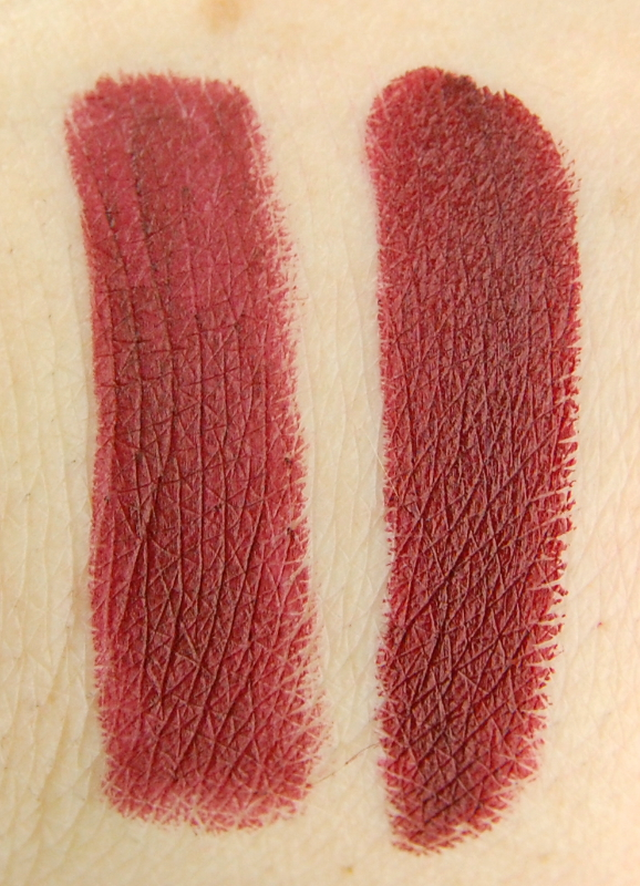 MAC Cosmetics Rocky Horror lipstick Sin Melt 666 comparison dupe swatch