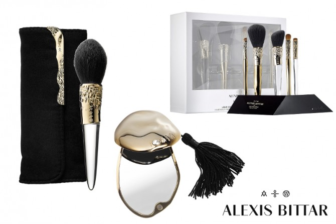Sephora Collection Alexis Bittar Liquid Gold Beauty Brushes and Compact Mirror