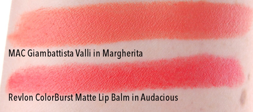 MAC Giambattista Valli Margherita Lipstick swatches dupes comparison